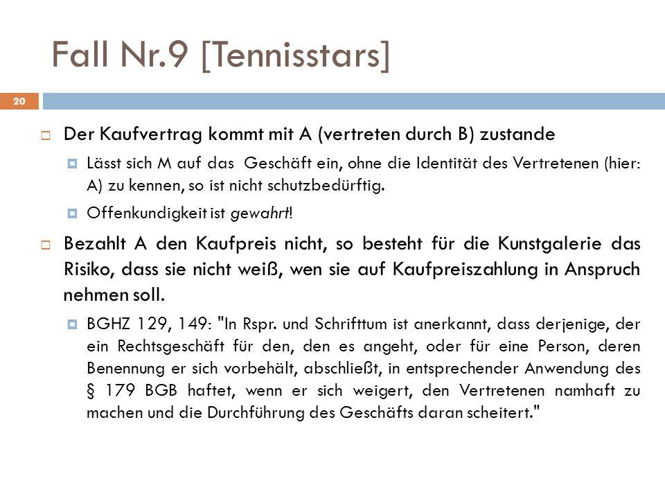 Fall Nr.9 [Tennisstars] Der Kaufvertrag kommt mit A (vertreten durch B) zustande.